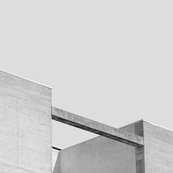 Sleepy Buildings - Modern Abstract Art Print, Urban Architecture, Black and White Photography, Gray Minimalist Wall Decor