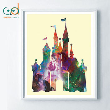 Disney Castle Colorful Printable, Digital Poster Princess Castle, Colorful Water Painting Disney Art, Kids Room Decor, Girl Princess Gift