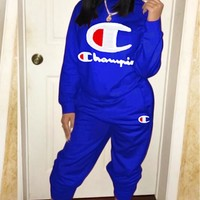 Champion Fashion New Embroidery Letter Sports Leisure Women Long Sleeve Top And Pants Two Piece Suit Blue