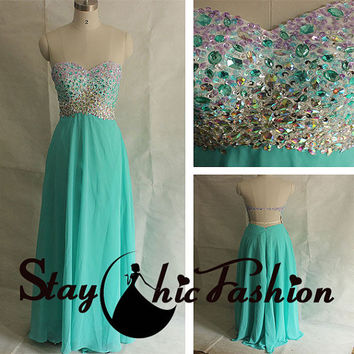 2015 Sparkly Ombre Beaded Top Strapless Turquoise Blue Open Back Chiffon Evening Formal Dress, Rhinestones Beaded Top Sweetheart Prom Dress