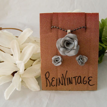 Handmade Silver Rose Earrings with Matching Dark Silver Necklace Great Christmas STOCKING STUFFER
