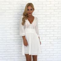 Wonderland Crochet Dress in White