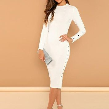 Fitted White Ribbed Knit Long Sleeve Dress