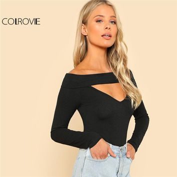 Spring V Neck Solid Slim T-shirt Black Off The Shoulder Long Sleeve Cut Out Plain Tee Women Sexy T-shirt Top