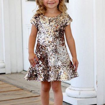 Dolls & Divas Tyler Silver/Gold Sequin Dress