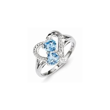Sterling Silver Blue Topaz Diamond Ring