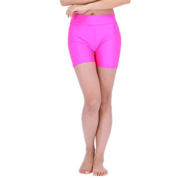Womens High Waisted Sexy Lycra Rave Booty Dance Shorts Spandex Shiny Pole Dance  Shorts For Stage