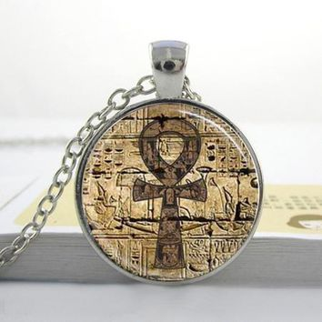 Egyptian Ankh Necklace Glass Dome Jewelry Necklace