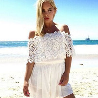 SIMPLE - Chiffon Sexy Floral Backless Off Shoulder Boat Neckline Romper a12621
