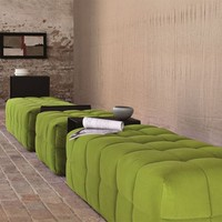 Upholstered fabric pouf with removable lining Inattesa Collection by Martex | design Monica Graffeo