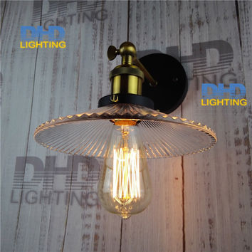 Shipping Of 4Pcs/Set Vintage Indoor 220Mm Clear Glass Shade Brass Socket Wall Lamp E27 Industrial Wall Sconce Fixtures