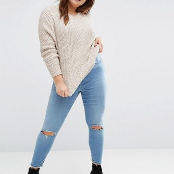 ASOS CURVE Cable Sweater in Slouchy Shape at asos.com