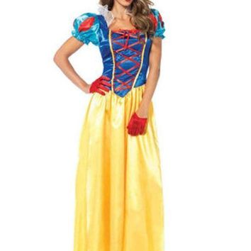 ESBI7E 2PC.Classic Snow White,long dress with matching bow headband in MULTICOLOR