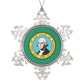 Snowflake Ornament with Washington State Flag