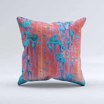 Hot Coral Metal with Turquoise Rust  Ink-Fuzed Decorative Throw Pillow