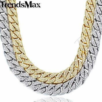 14mm Miami Curb Cuban Chain Necklace For Men Gold Silver Hip Hop Iced Out Paved Rhinestones CZ