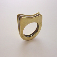 "Minimal Geometric Handmade Ring in Brass and Nickel Silver ""Three Pages"""