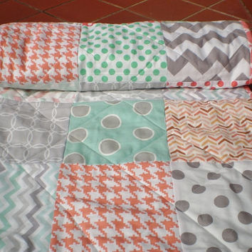 Modern Baby quilt-baby girl quilt, baby girl bedding,patchwork crib quilt,coral,mint green,grey,peach,toddler,chevrons,dots,Peach Cobbler