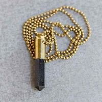 Lovebullets Black Crystal Point Necklace- Gold One