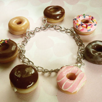 box of donuts polymer clay charm bracelet doughnut charms