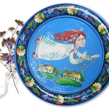 Fairy, Folk Flowers, folk art, Colorful, Etno Ukraine, wooden, ethnic style, rustic,  Mother Day Gifts