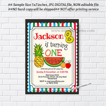 Watermelon Birthday Invitation, sweet fruits, apple, orange, pineapple ,birthday party, any age 1st 2nd 3rd 4th 5th 6th 7th 8th - card 1007