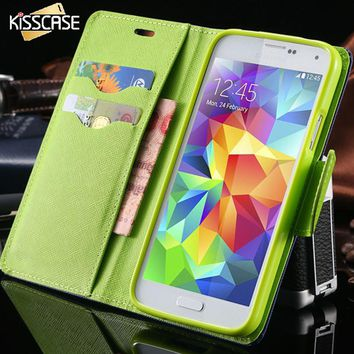 KISSCASE S4 S5 PU Leather Case for Samsung Galaxy S5 SV I9600 Wallet Holster Phone Cover Bag for Samsung Galaxy S4 SIV I9500