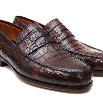 Paul Parkman (FREE Shipping) Men's Brown Genuine Crocodile Penny Loafers (ID#PN49LF)