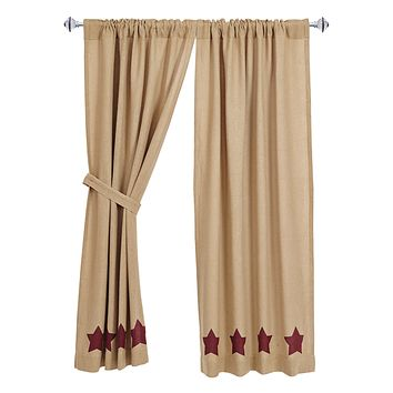 Burlap with Burgundy Stars Short Panel Curtains