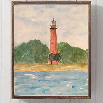 Watercolor Lighthouse Painting, Seascape  Ocean painting, Nautical art, Impressionist Juniper Inlet Lighthouse, Florida art, Blue and Green