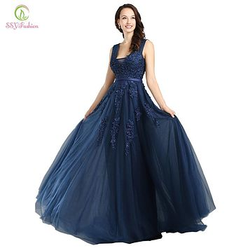 Fashion Sexy Backless Long Evening Dresses The Bride Navy Blue Lace V-neck Elegant Party Dress
