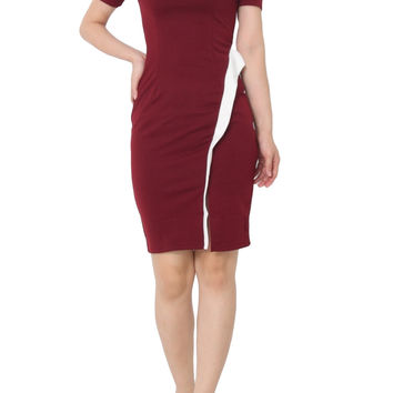 KASIA Mid Sleeve Fitted Dress Maroon Red