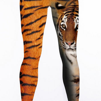 3D Tiger Printed Hight Waist Casual Sports Yoga Elastic Pants + Free Shipping