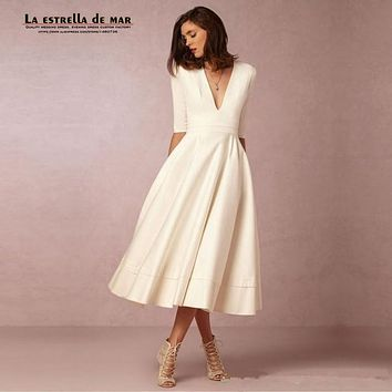 Robe cocktail2017 new V-neck 3/4 Sleeve Bow Satin fluffy Tea-Length ivory white cocktail dresses short ever pretty dress