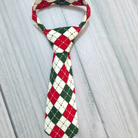 Holiday Argyle Boy Neck Tie Green, White and Red. Christmas