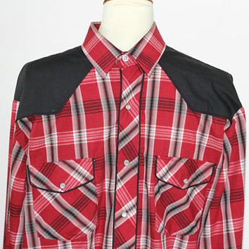 Roper Men's Western Shirt Sz L Red and Black Plaid with Black Yoke | Pearl Snap Buttons Square Dance | Man's Cowboy Shirt