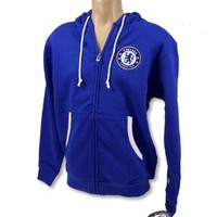 CHELSEA FC SOCCER FOOTBALL CLUB OFFICIAL HOODIE ZIP SWEATSHIRT SZ S