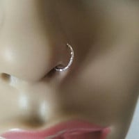 FAKE NOSE RING sterling silver wire diamond cut fake nose piercing