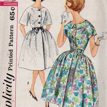 Simplicity Sewing Pattern 1960s Rockabilly Swing Tea Dress Full Circle Skirt Button Front Short Kimono Sleeve Dress Bust 32