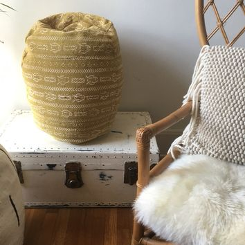Mustard Yellow & White Tribal Pattern Mudcloth Poofs / Bean Bag Chair / Ottoman