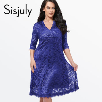 Sisjuly Plus Size Lace Dress Women Sexy V-Neck Half Sleeve A-line Party gown Knee-Length large size dress Plus Size Lace Dresses