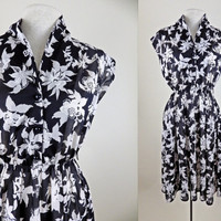 Vintage Sheer Floral Dress // Black and White // Elastic Waist // Cap Sleeves // Small Medium