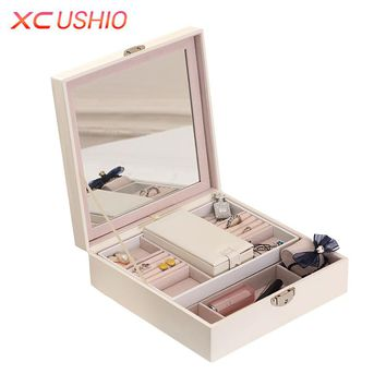 Large Capacity PU Leather Jewelry Organizer Box Detachable Travel Jewellery Display Box Cosmetic Necklace Bracelet Container