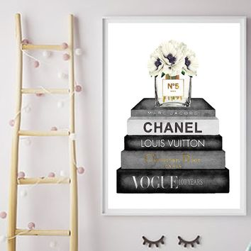 Abstract Canvas Painting Fashion Peony Bottles Nordic Wall Pop Art Posters and Prints Decoration Pictures Living Room unframe