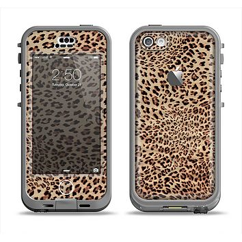 The Brown Vector Leopard Print Apple iPhone 5c LifeProof Nuud Case Skin Set