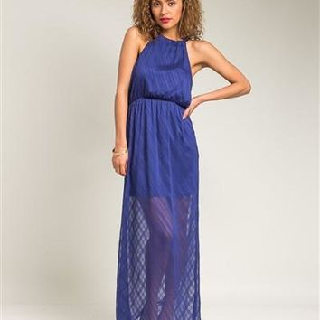 Blue Halter Bow Back Sheer Maxi Dress