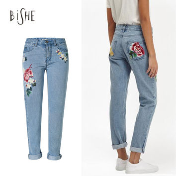 American Apparel Embroidery Jeans Pantalon Femme Flower Denim Jeans Boyfriend For Women Bleached Ladies Embroidered Trousers
