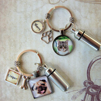 Pet Memorial Key Ring with Custom Photo and Cremation Urn Loss of Cat Dog Memory and Remains Vial Ash Container