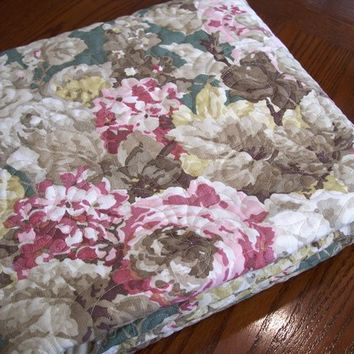 Old Roses - Handmade Lap Quilt Decorator Throw - Wholecloth Quilt - Satin Back, Floral, Green, Pink, Ivory