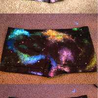 Galaxy Space Nebula Boy Shorts, hand painted, UV Black Light Reactive and Glow in the Dark :) //LIMITED QUANTITY, being discontinued 8/16//
